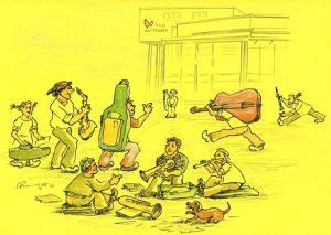 Die LMS Wörgl lädt ein, online in das Schulangebot zu schnuppern. Zeichnung: Sepp Rangger