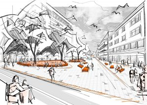 Visualisierung aus dem Siegerprojekt: Blick vom Bahnhofsplatz Richtung Bahnhofstraße. Grafik: Landschaftsarchitekturbüro EGKK