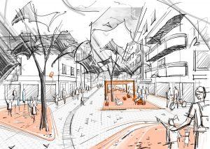 Visualisierung aus dem Siegerprojekt: Blick vom Citycenter Richtung Bahnhof. Grafik: Landschaftsarchitekturbüro EGKK