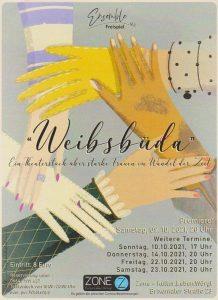 """Das Ensemble Freispiel präsentiert seine erste Produktion """"Weibsbüda"""" in der Zone Wörgl. Grafik: King Bird Illustration"""